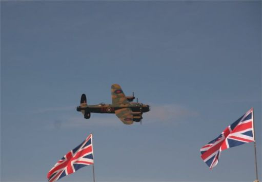 Lancaster in the air at the Goodwood Revival.