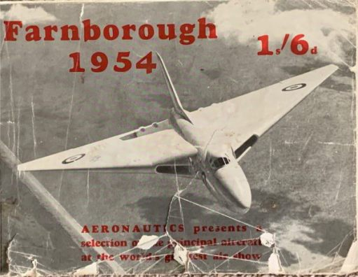 Front cover of the Farnborough Airshow programme 1954. Price 1/6d.