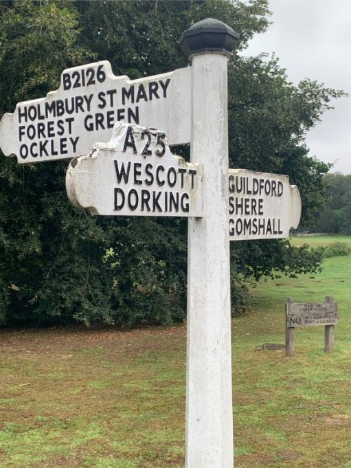 This old road sign mystifies Bobby. Westcott is Westcott in every single piece of information that we have sourced. Only on this road sign is it Wescott. Anyone know why, or is it just misspelt?
