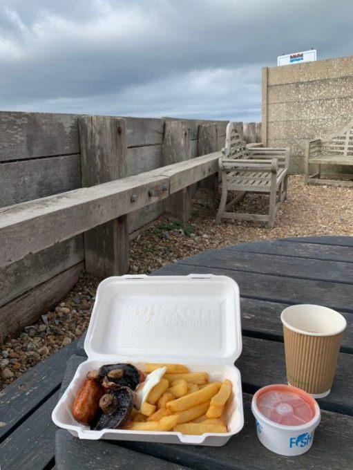 Yummy yummy. Breakfast in a box at the Bluebird, Ferring-by-Sea.