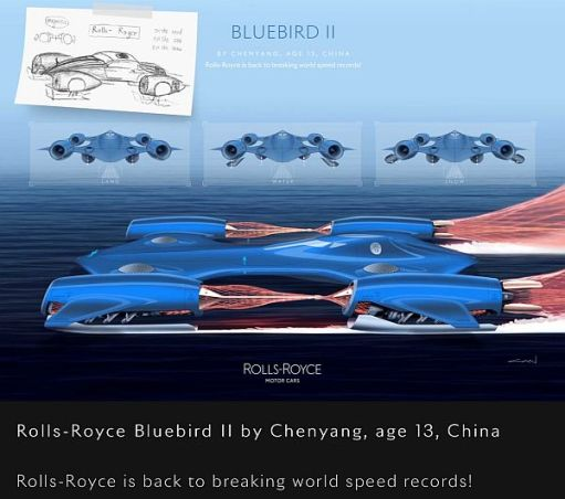 "Rolls-Royce ""Bluebird II"" by Chenyang, age 13, China."