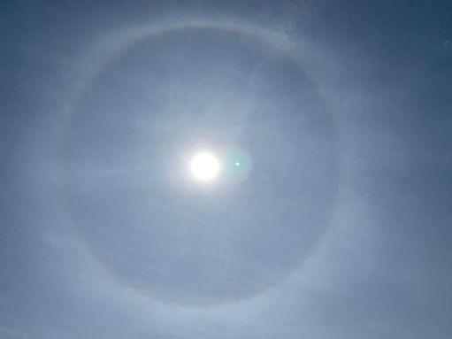 Halo around the sun above Skokholm Island.