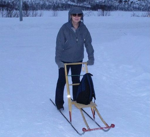 Diddley with a sledge in Kirchenes … within the Arctic Circle.