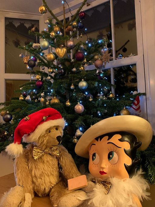 Betty & Bertie, with the Little Pink Book, in front of the decorated Christmas Tree.