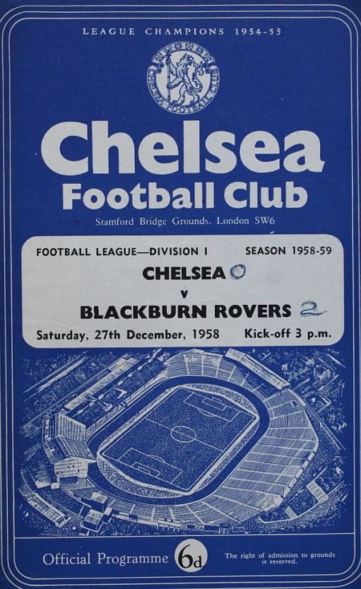 Programme cover for Chelsea v Blackburn Rovers. 27 December 1958.