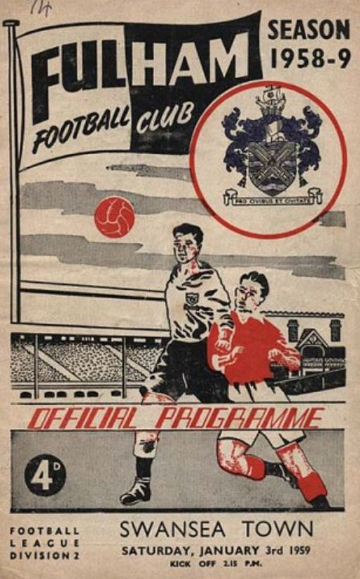 Programme cover for Fulham v Swansea Town. 3 January 1959.