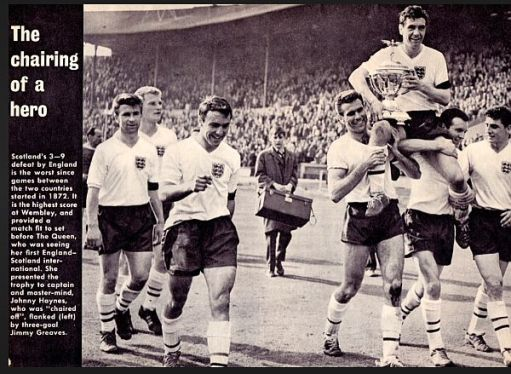 Newspaper article and photograph of the England Team with Johnny Haynes celebrating their 9-3 win over Scotland.