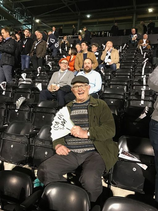 Bobby on one of the seats at Craven Cottage waiting to support Fulham.