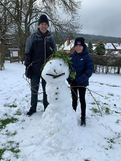 Andrew, Daisy-Mae and snowman.