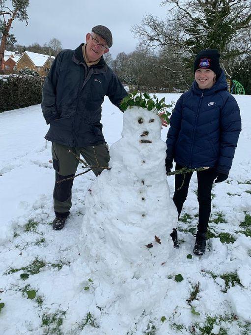Bobby, Daisy-Mae and snowman.