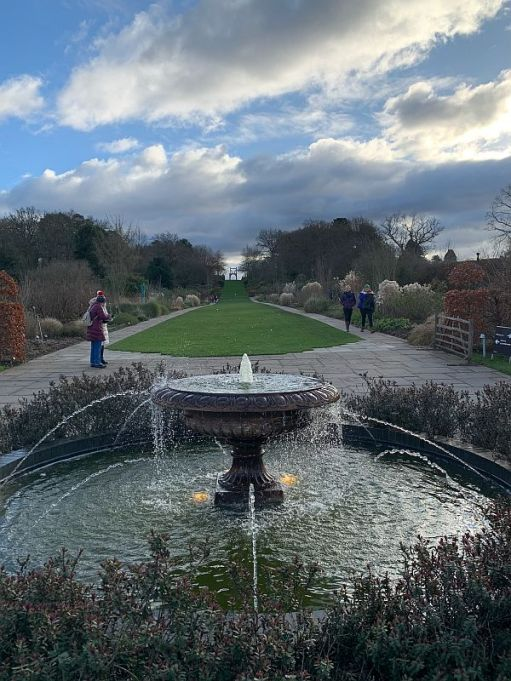 Water fountain and gardens at Wisley.