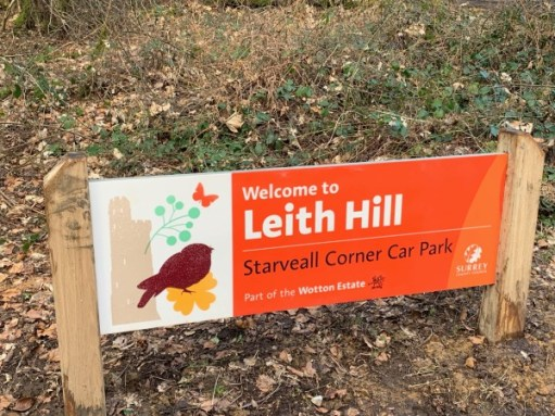 Leith Hill car park sign, stating it is part of the Wotton Estate.