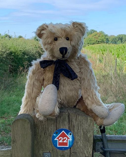 Bertie sat on a post with a sign marking Cycle Route 22.