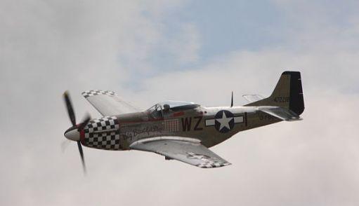 P51 Mustang in flight.