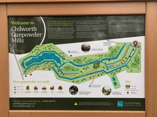 Information panel for Chilworth Gunpowder Mills.