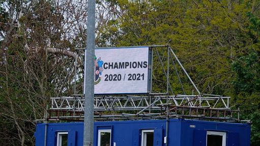 """Sign announcing """"Champions 2020/2021"""""""