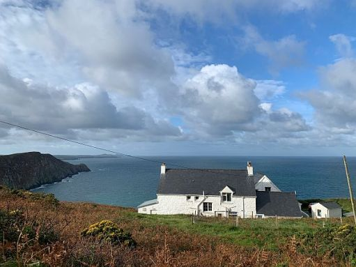 YHA Pwll Deri, with the view out to sea.