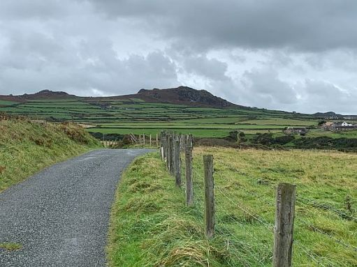 The lane from Strumble Head, with Garn Fawr in the distance.