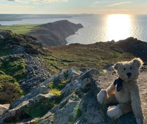 Bertie sat of Garn Fawr, with the sun reflecting on the sea in the background.