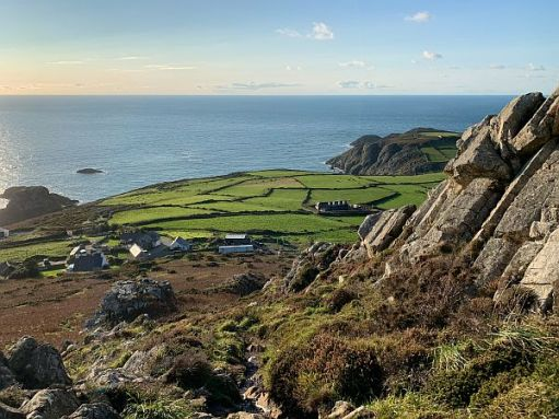 View from Garn Fawr of the Pembrokshire coast with the sea in the distance.
