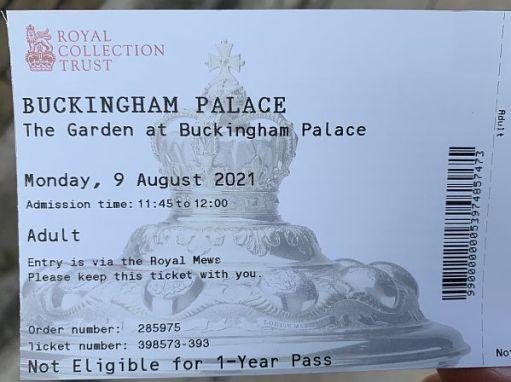 Bobby's Buckingham Palace entry ticket.