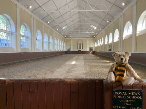 """Bertie sat on the wooden fence of the Royal Mews Riding School. """"Completed 1764""""."""