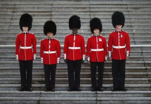 Picture of the five guards showing the different button spacing.