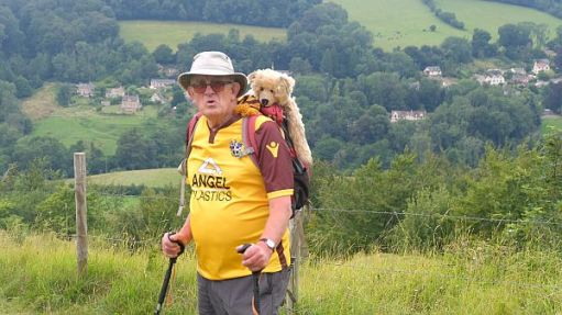 A puffed out Bobby with Bertie in the rucksack arrive at the top of Swift's Hill.
