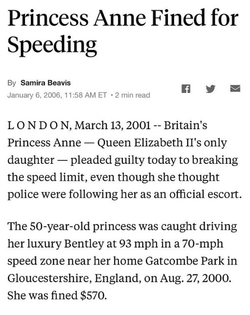 News report of Princess Anne fined for speeding.