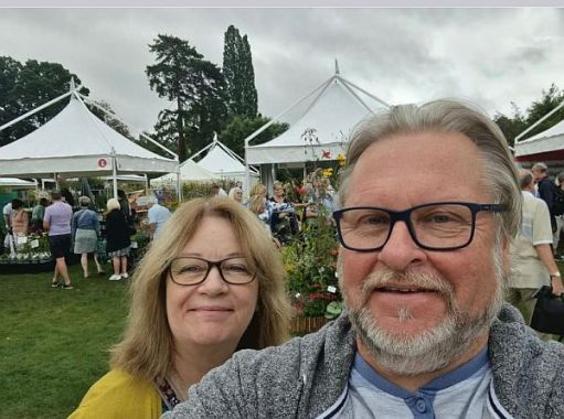 Elizabeth and Tim at the flower show on Thursday.