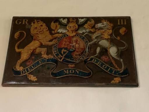 Georgian coat of arms (George III) in Wisley Church.