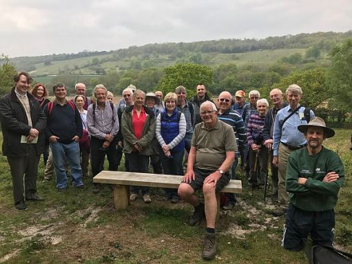 The Civil Engineers' Walking Club visit Diddley's Bench in 2018.