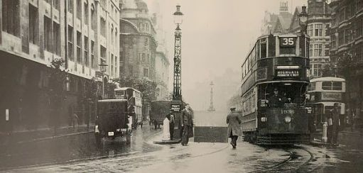 A No35 tram emerging from the Kingsway Tunnel on a wet day.
