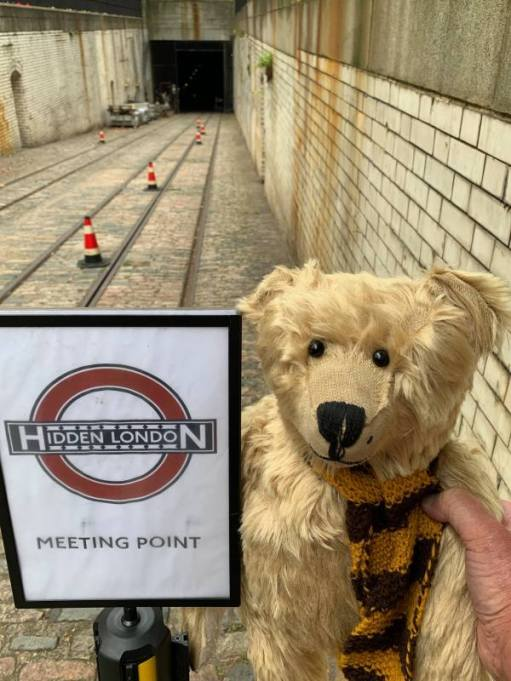 """Bertie beside the """"Hidden London"""" sign at the northern entrance to the Kingsway Tram Tunnel."""