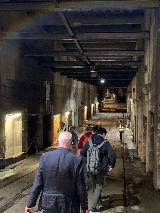 Walking down inside the Kingsway Tram Tunnel.