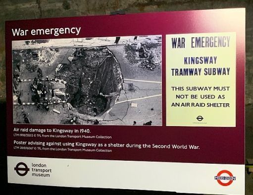 War time poster showing bomb damage to the Kingsway Tram Tunnel explaining that it should not be used as an air raid shelter.