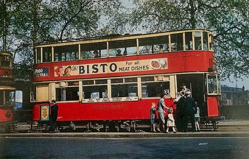 A tram after leaving the southern entrance to the Kingsway Tunnel with a Bisto advert on its side.