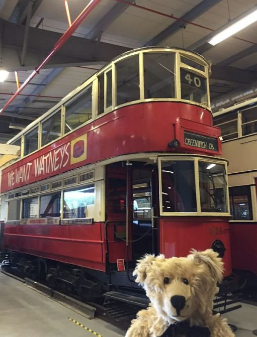 Bertie with tram 1025 in the London Transport Museum, Acton.