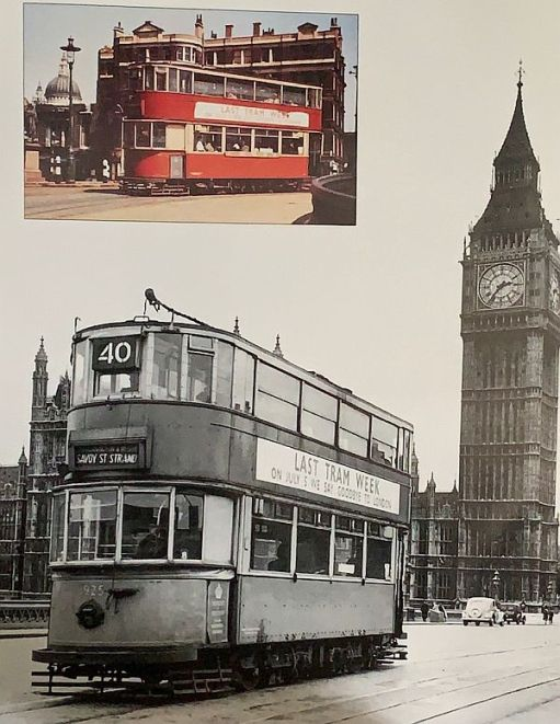 No40 Tram on Westminster Bridge, with Big Ben in the background.