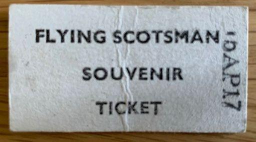 Flying Scotsman souvenir ticket. Watercress Line 2017.