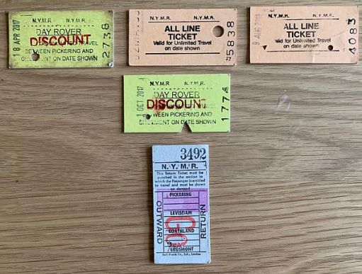 Selection of North Yorkshire Moors Railway tickets.