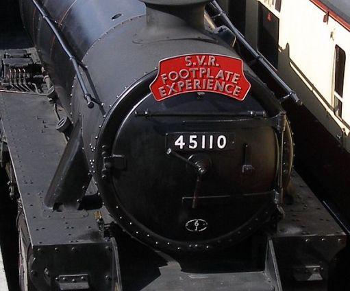 Black 5 45110 carrying an SVR Footplate Experience headboard.