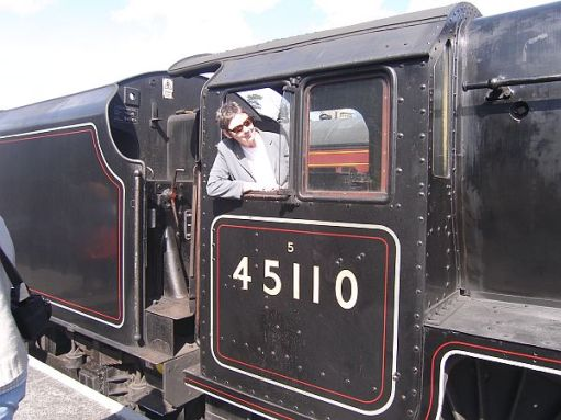 Diddley on the footplate of SVR 45110 Black 5.