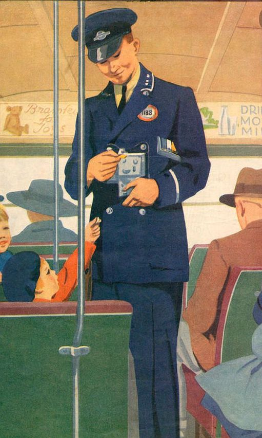 Colour drawing of a bus conductor clipping a ticket.