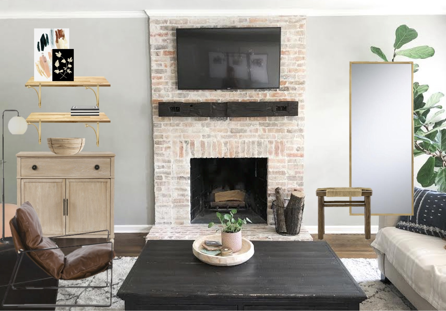 Fireplace Wall Design • Mindfully Gray