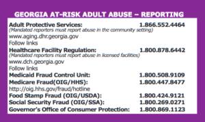 Georgia Elder Abuse Reporting Card