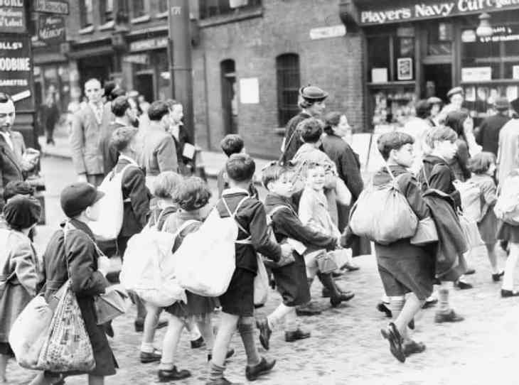 Children being evacuated from London during World War II.