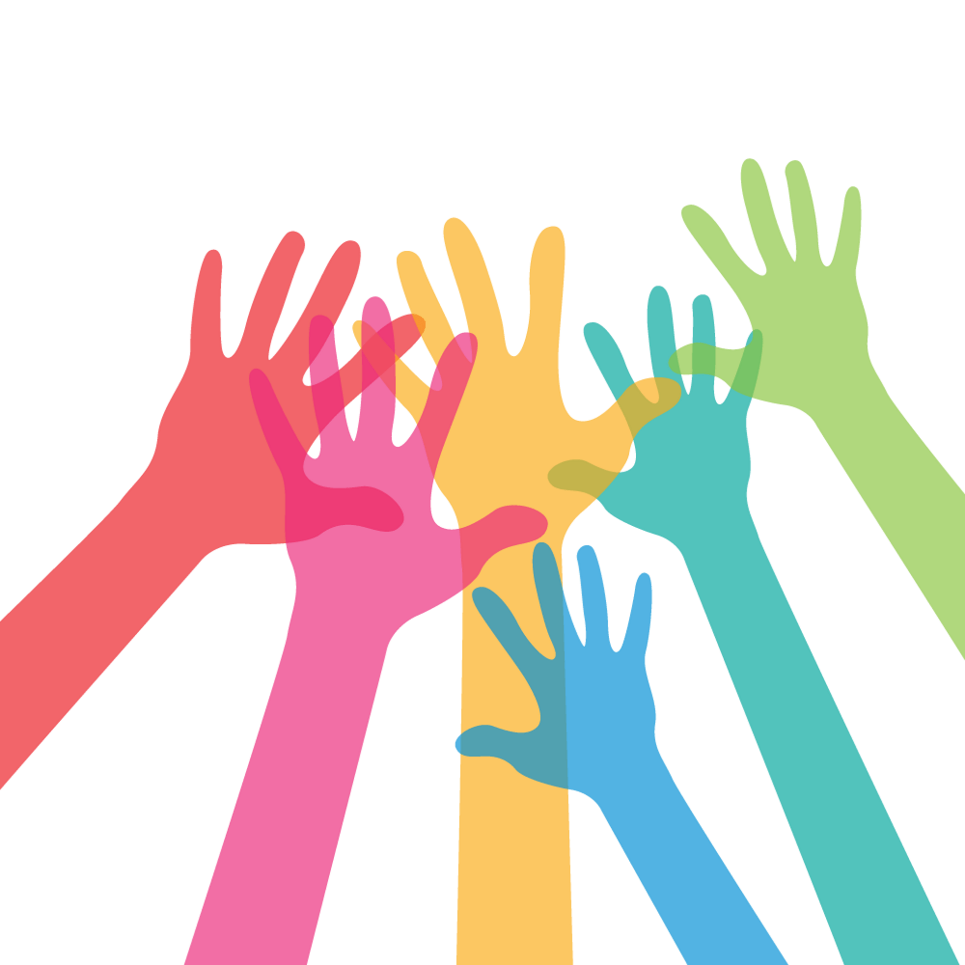 a drawing of raised colourful hands leaning together