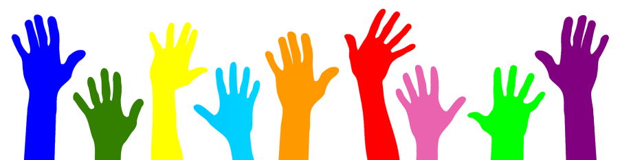 a drawing of a row of raised colourful hands
