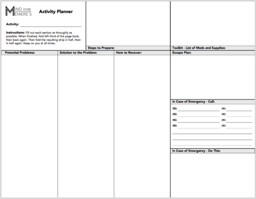 meniere s disease activity planner a free tool for taking action